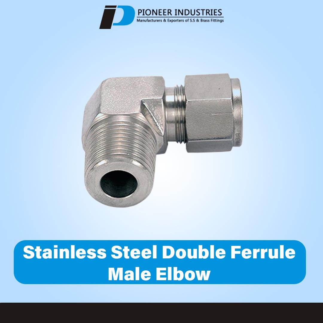 Stainless Steel Double Ferrule Male Elbow